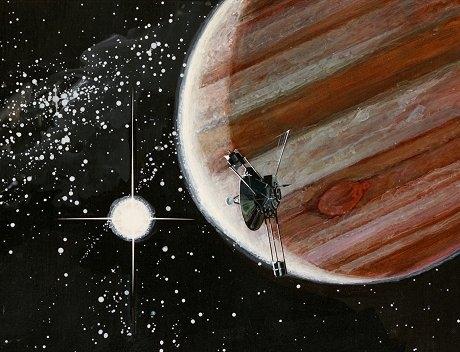 木星に接近するパイオニア10号
