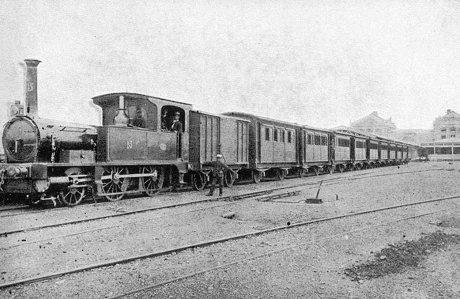 明治初期の列車(鉄道院160形蒸気機関車)