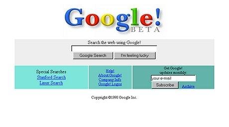 1998年当時のGoogleのトップページ