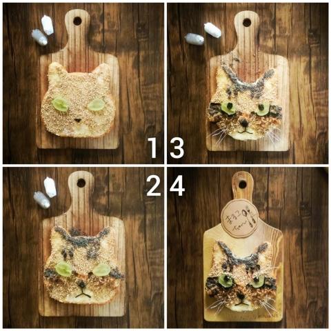 「猫の食パンアート」のレシピ