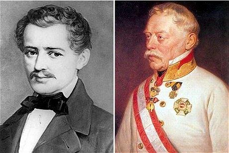 ヨハン・シュトラウス1世(左)とヨーゼフ・ラデスキー将軍(右)