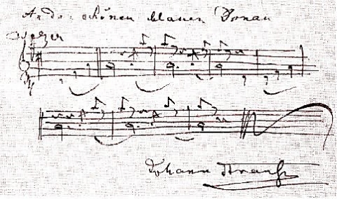 美しく青きドナウの楽譜(シュトラウス2世のサイン入り)