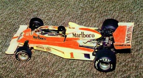 マルボロマクラーレンM23フォードのプラモデル(カラー着色)