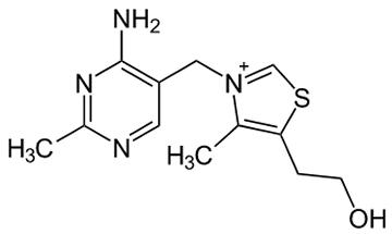 チアミン(ビタミンB1)の構造