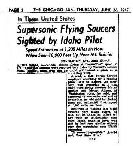空飛ぶ円盤を伝えるシカゴ・サン紙の報道(1947年6月27日)