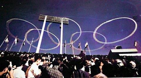 ブルーインパルスによる五輪マーク(1964年東京オリンピック開会式)AIカラー