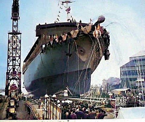 青函連絡船「津軽丸」進水式 昭和38年11月15日 AIカラー化