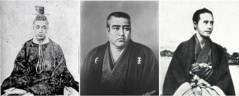 徳川慶喜(左)・西郷隆盛(中)・勝海舟(右)