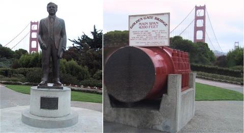 ジョセフ・ストラウスの銅像とブリッジに使われているケーブル