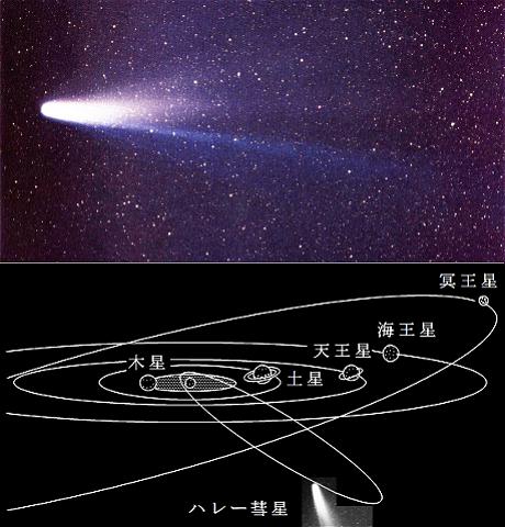 ハレー彗星(上)と周期軌道(下)
