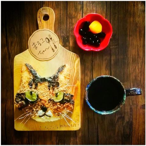 猫の食パンアート