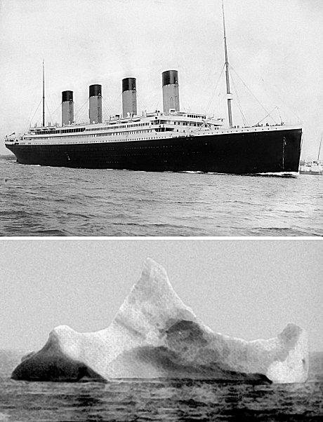 タイタニック号(上)と衝突した氷山(下)